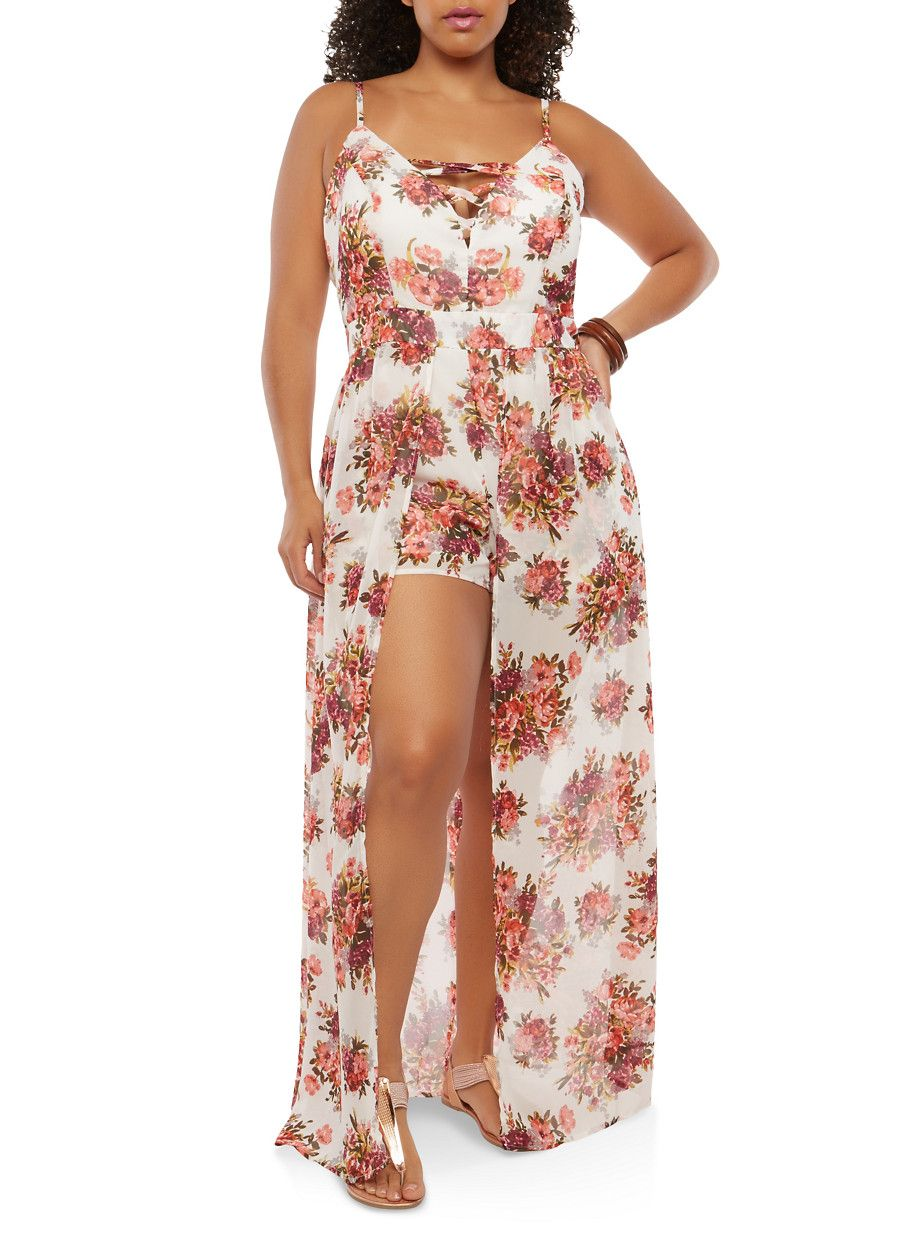 6ca4696d79 Plus Size Floral Maxi Romper - White - Size 2X | Products | Maxi ...