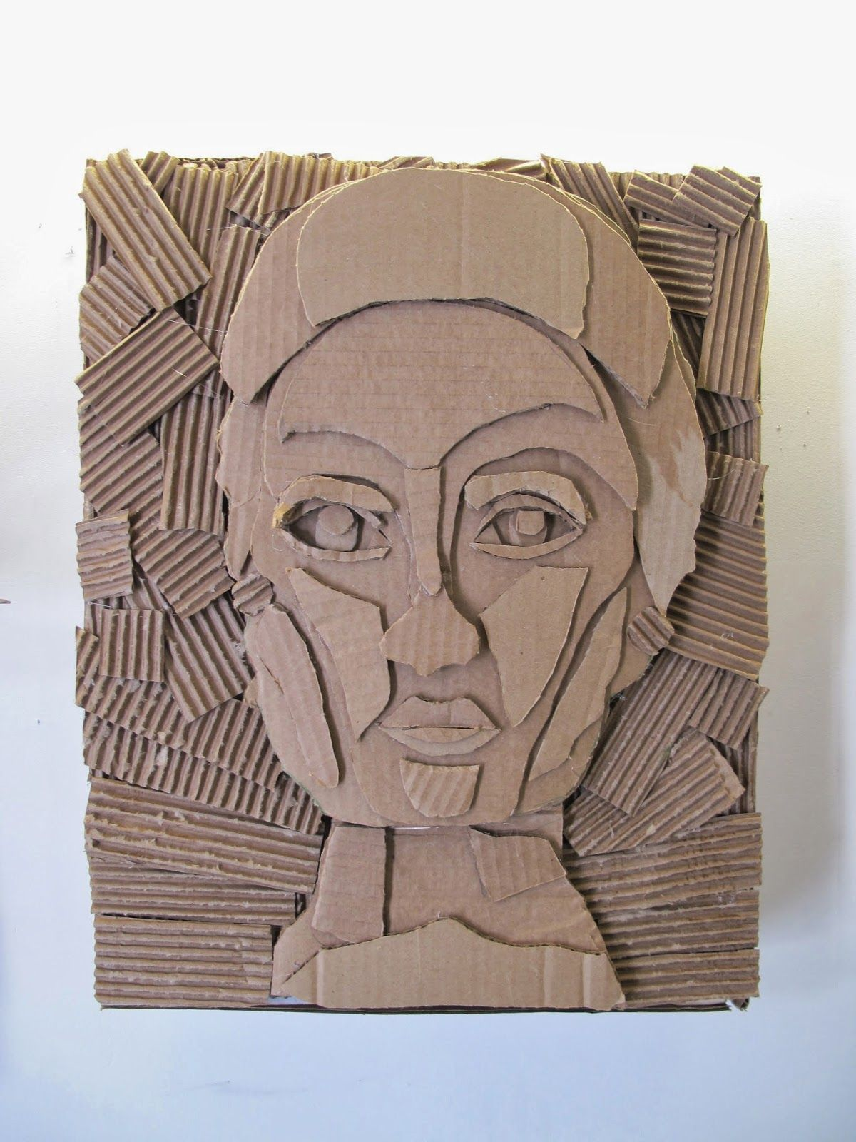 The Visual Arts At Germantown Academy Cardboard Relief Portraits Cardboard Relief Cardboard Art Cardboard Art Projects