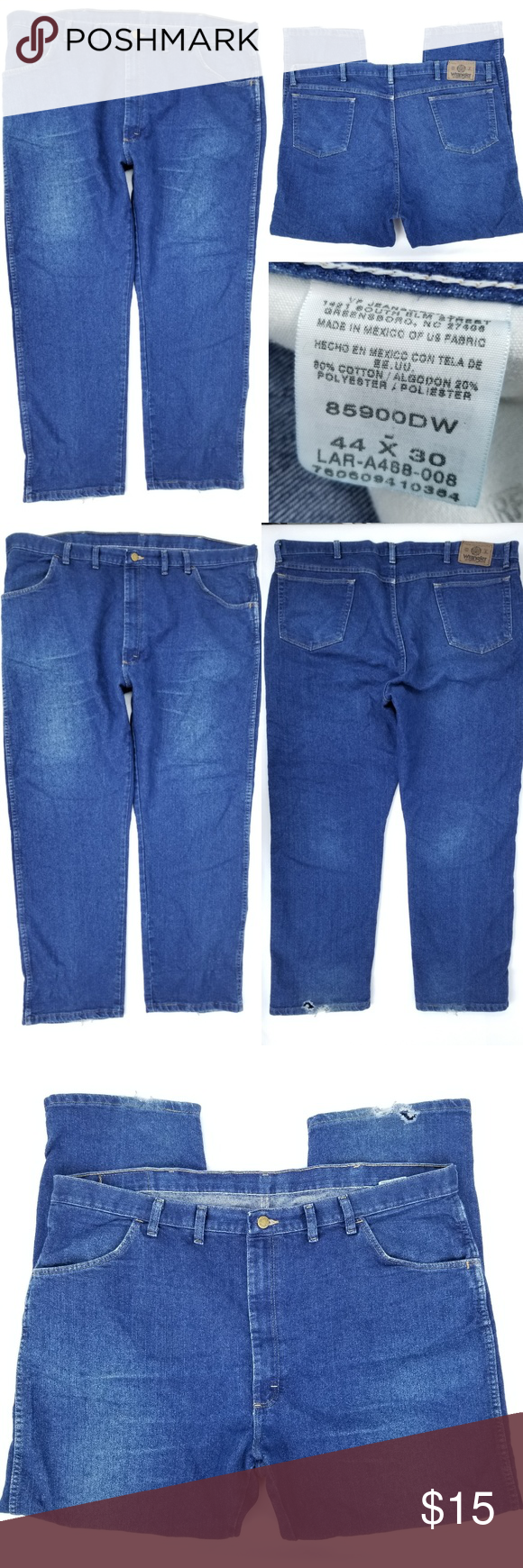 ff57a939 Wrangler Working Man's Jeans 44x30 Actual 45x29 This pair of Wrangler brand  jeans are a dark