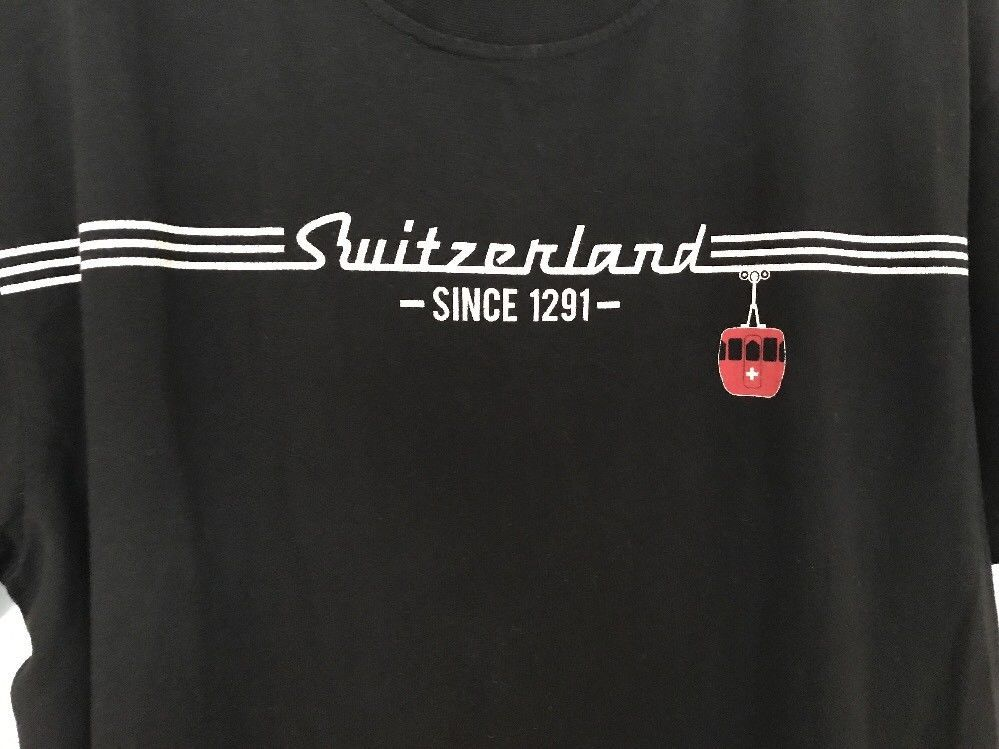 Switzerland Since 1291 Swiss Tram Medium Black T Shirt Short Sleeve