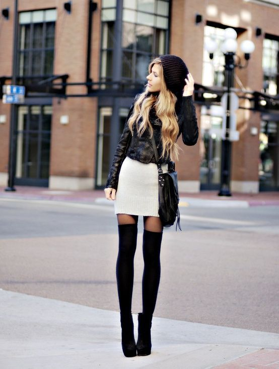 10 Expert Tips For Women To Look Taller | Black thigh high socks