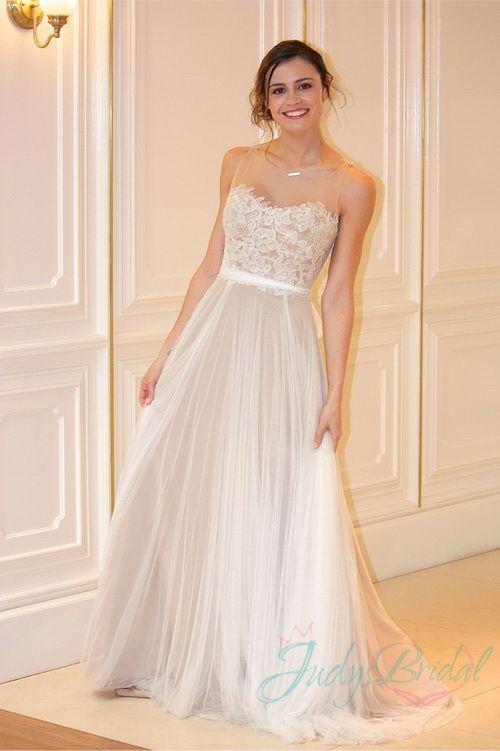 JOL273 romance sheer tulle top flowy tulle wedding dress : | classic ...