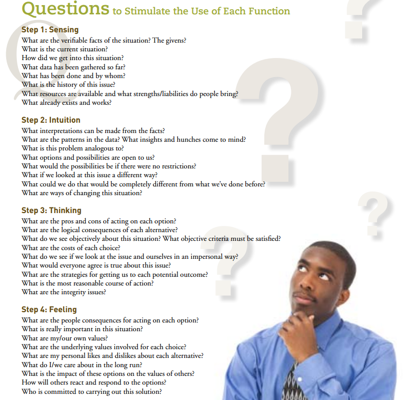 What kinds of questions are on the Myers-Briggs test?