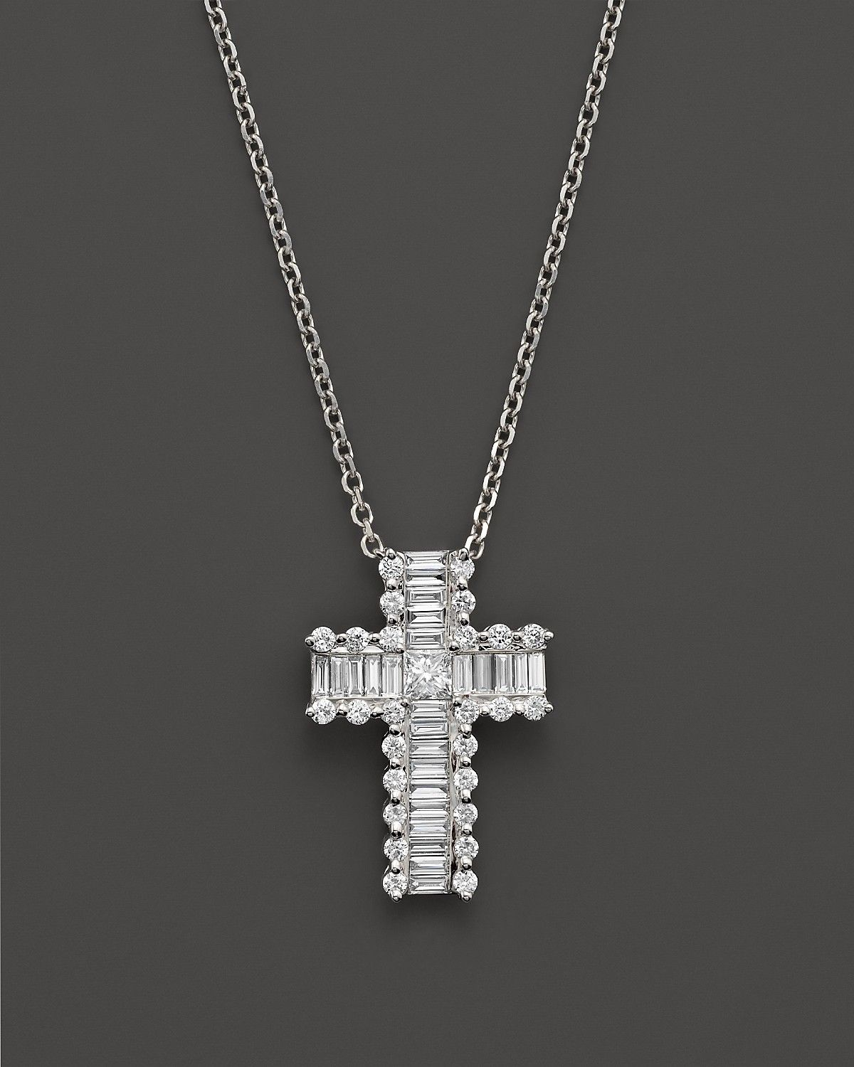 Round and baguette diamond cross pendant necklace in 14k white gold round and baguette diamond cross pendant necklace in 14k white gold 55 ct tw 100 exclusive bloomingdales aloadofball Image collections