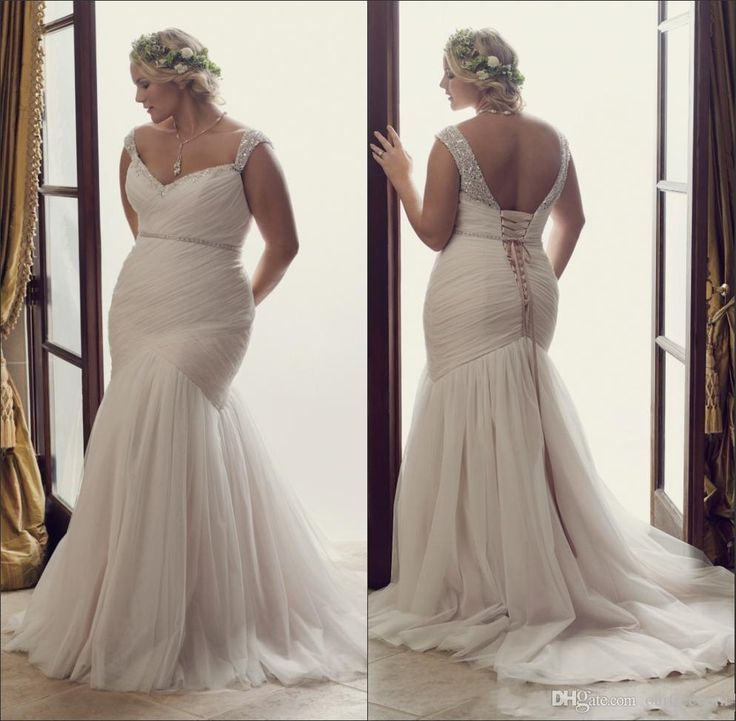 New Simple Plus Size Mermaid Wedding Dresses 2016 Fitted Sweetheart Cap Sleeves Beaded Backless Ruched With Belt Boho Bridal Gowns