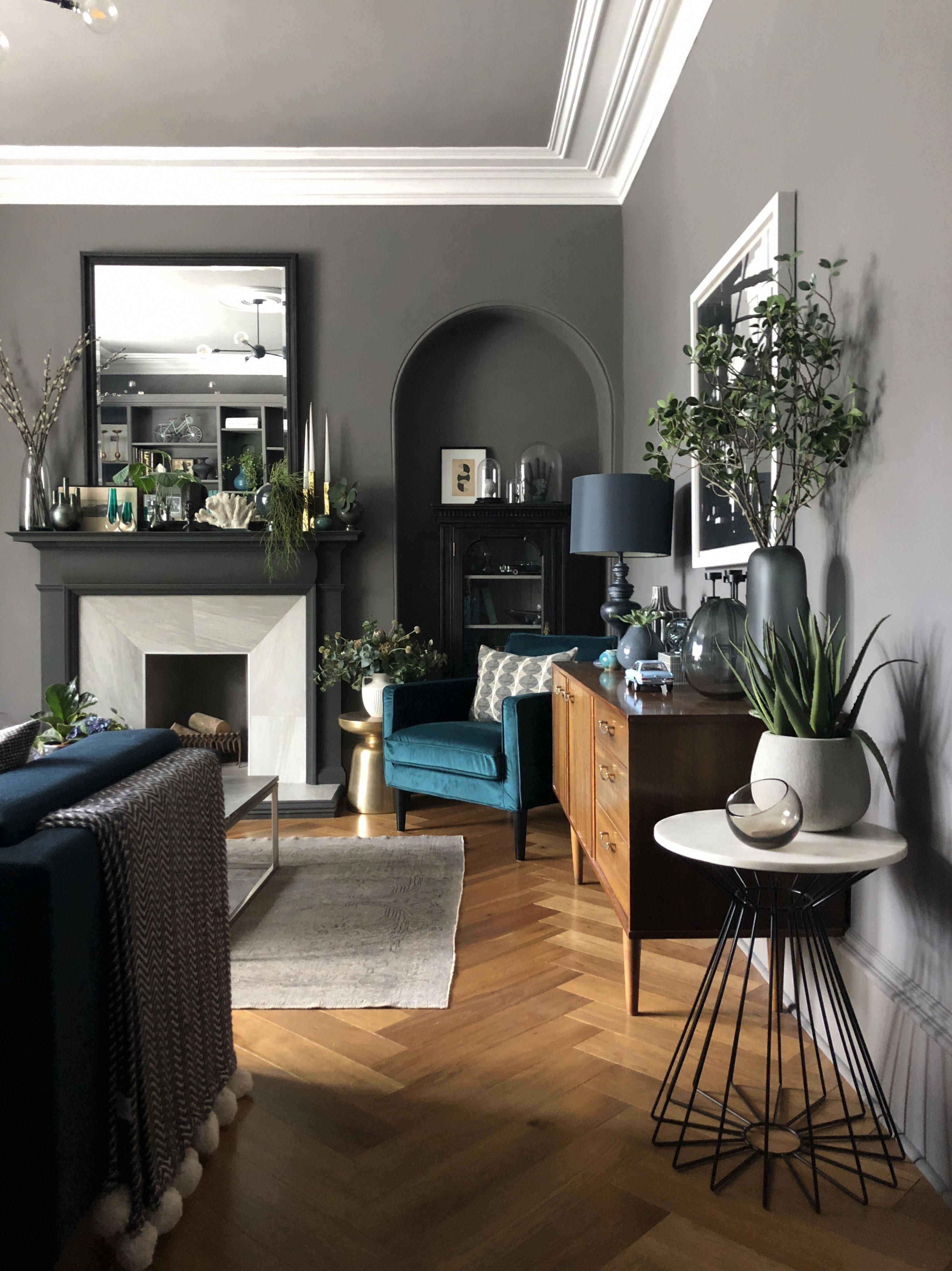 Grey Living Room Walls In Whistling Whipoorwill By Valspar U K Oak Herringbone Floor Adds Warmth A Grey Walls Living Room Living Room Grey Teal Living Rooms