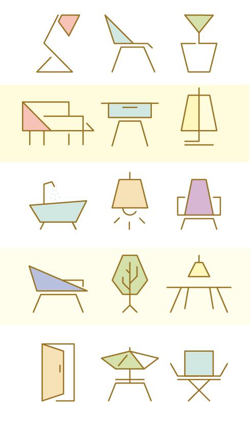 Furniture Icon Set For Manuela Naranjo Interior Design