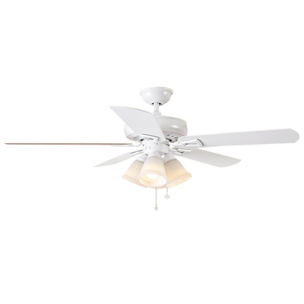 Hampton Bay Lyndhurst 52 In Led Matte White Ceiling Fan With Light Kit 51012 White Ceiling Fan Ceiling Fan White Ceiling