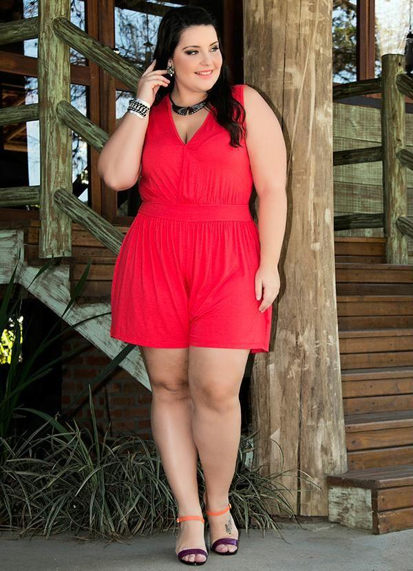 21a371e92151e5 Macaquinho Viscose Vermelho Miss Masy Plus - BGO Company   Moda plus ...