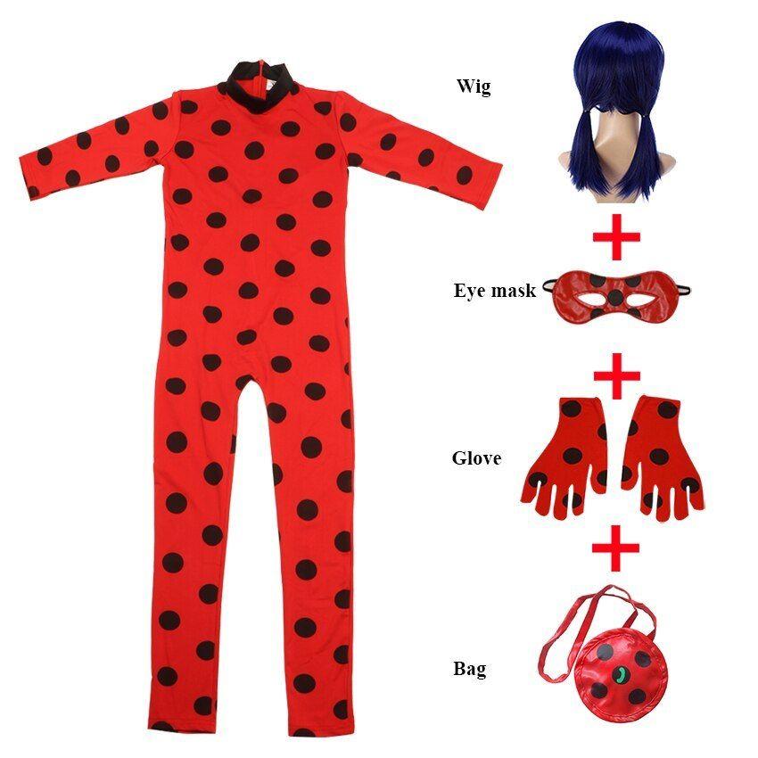 Miraculous Ladybug Costume Girls Marinette Jumpsuits Kids Halloween Fancy Party!
