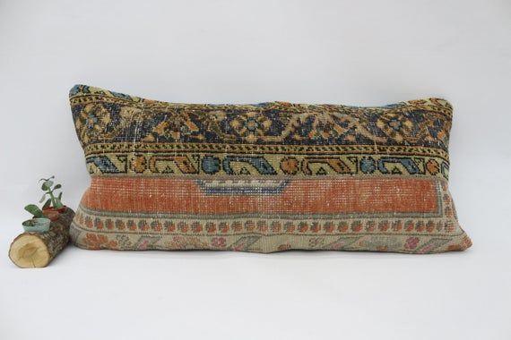 Traditional Rug Pillow, 16x36 Rustic Pillow, Pillow Covers,Lumbar Pillow,Embroidered Pillow,Boho Pil