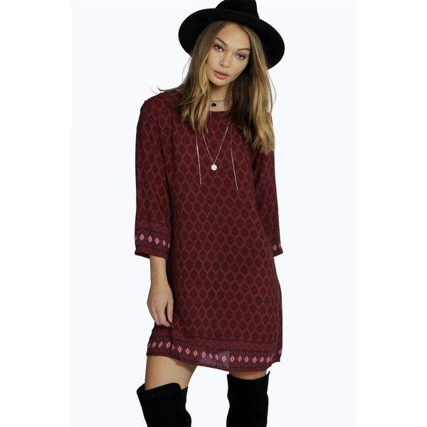 Boohoo Lilly Ethnic Print Shift Dress ($30) ❤ liked on Polyvore featuring dresses, wine, boho maxi dress, flower print dress, midi dress, red dress and maxi dress
