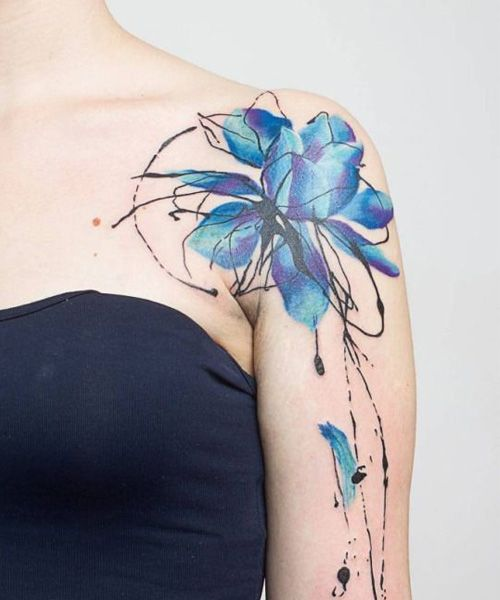 Elegant Blue Watercolor Flower Shoulder Tattoos For Women Cool