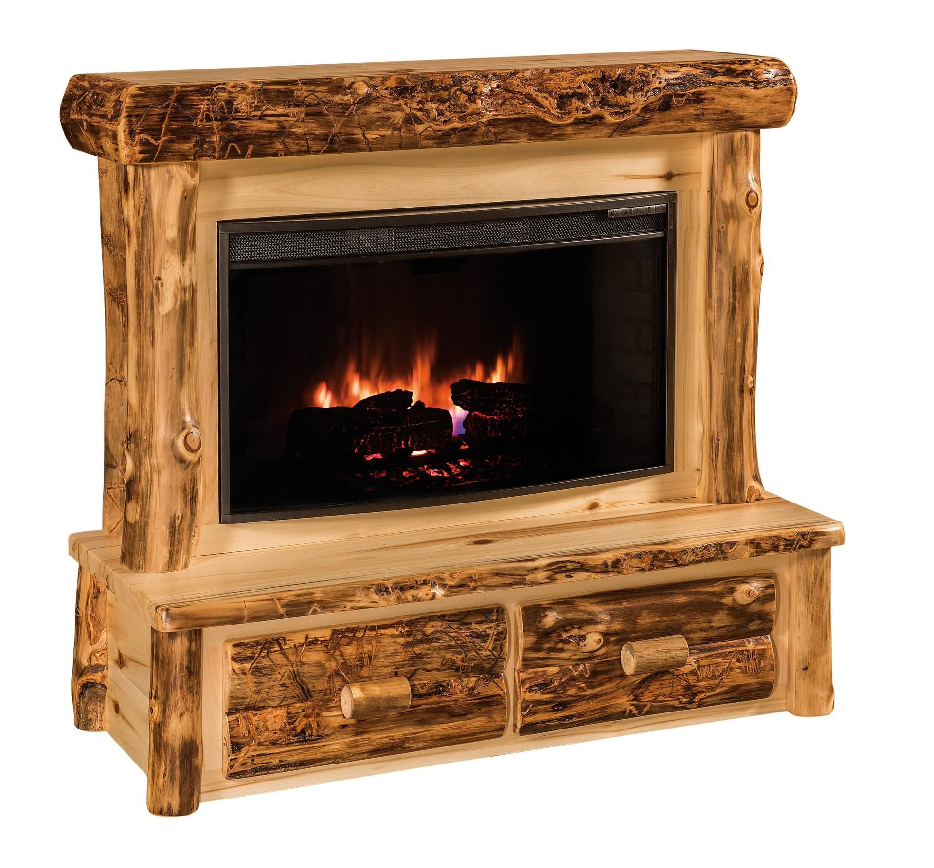 Amish Rustic Log Fireplace With Mantel And Drawers Fireplace