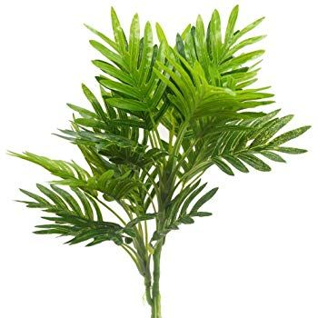 Aisamco Artificial Tropical Palm Leaf Bush Artificial plant in Green 1 Pcs Plastic Areca Palm Plant 9 Leaves 35.4 Tall for Tropical Greenery Accent Floral Arrangement Home Accessories Artificial Flora
