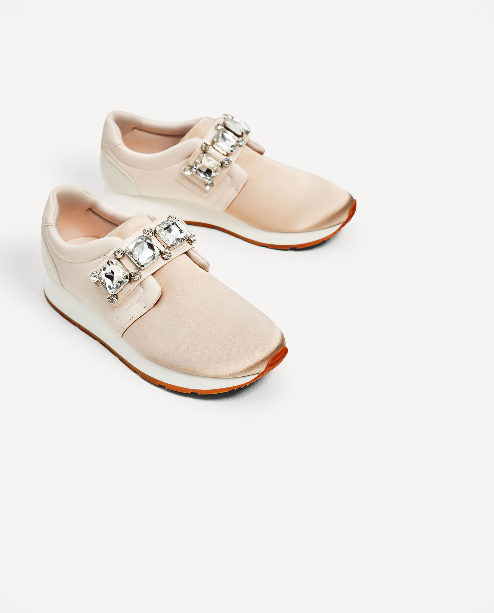 08d21e7d3ab ZARA - WOMAN - BEJEWELLED SATIN SNEAKERS
