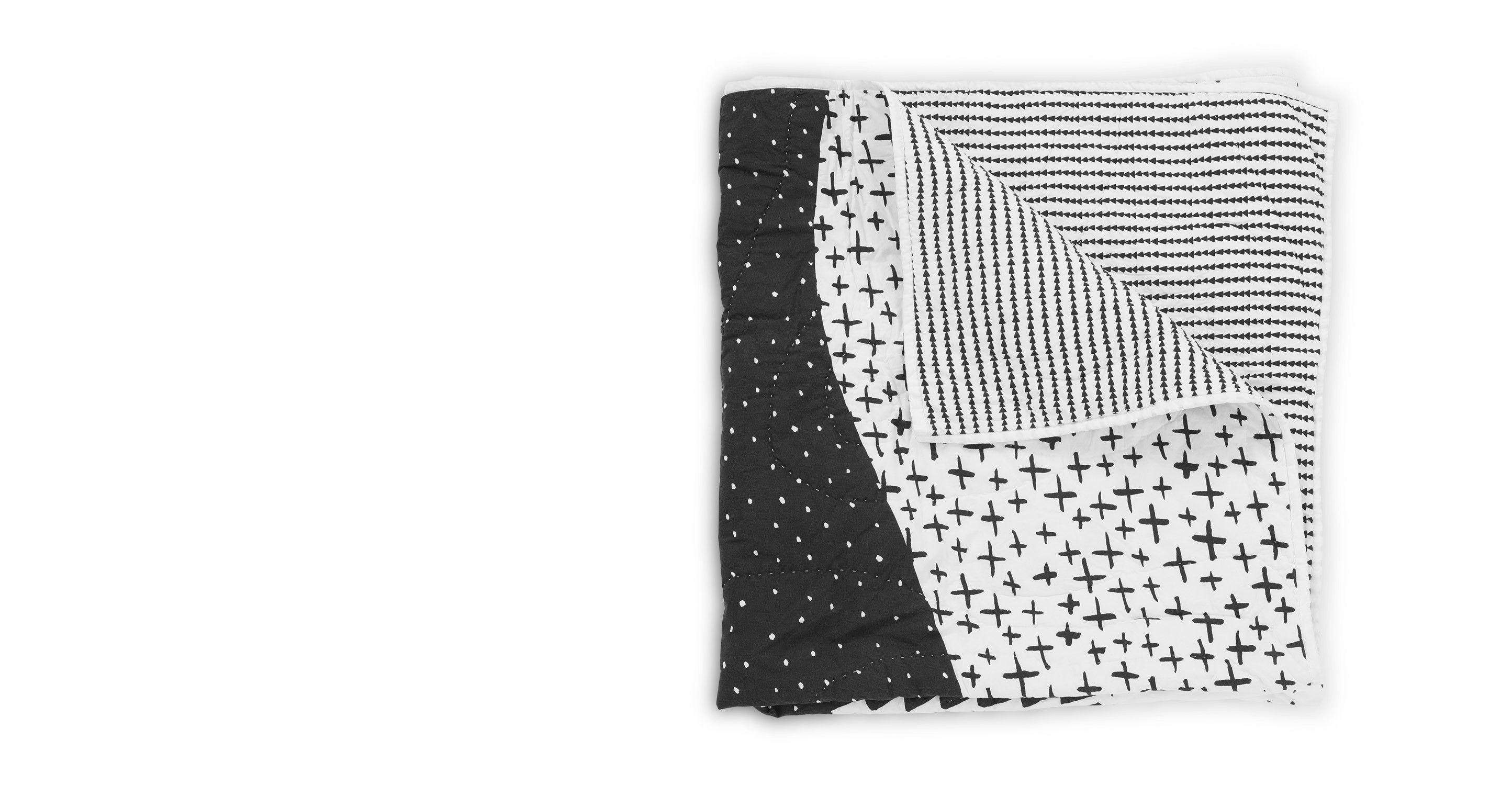 Iso sprei 180 x 130cm, zwart-wit