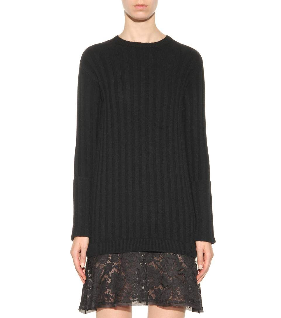 mytheresa.com - Lace-trimmed virgin wool and cashmere sweater ...