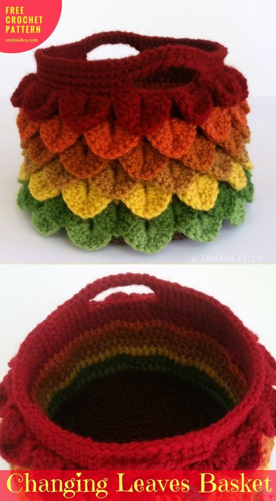 Basket Changing Leaves Free Crochet Pattern | Pinterest | Patrones ...