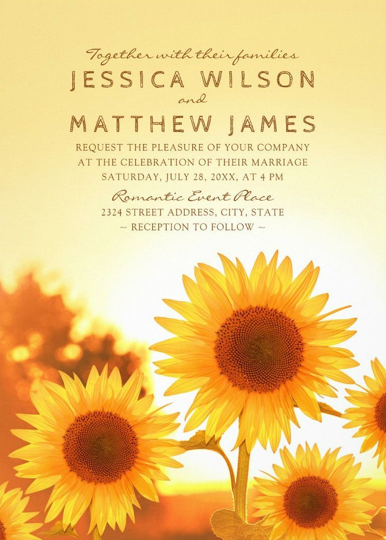 Rustic Sunflower Wedding Invitations Best Modern Floral Summer Wedding Invitations. Creative  wedding invitations that feature beautiful country sunflowers on a yellow summer sunset. Romantic invitations for rustic, summer, country, barn, farm or any wedding. You can customize this wedding invitation online. Order your first sample today. More at http://superdazzle.com #weddinginvitations