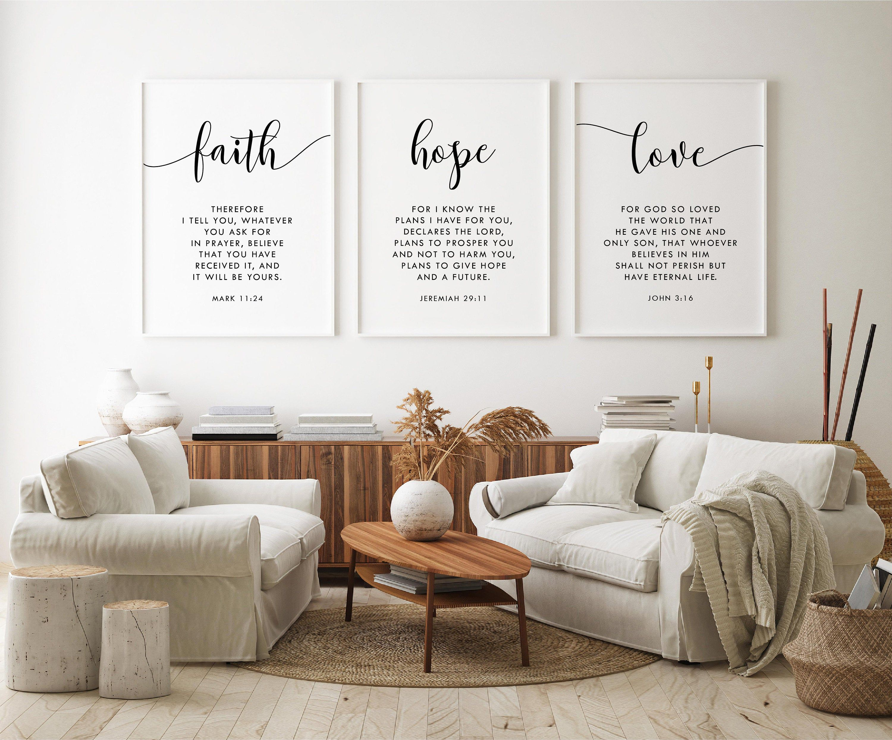 Faith Hope Love A Set Of 3 Bible Verse Wall Art John 3 16 Etsy Bible Verse Wall Art Bible Verse Wall Decor Bible Verse Wall