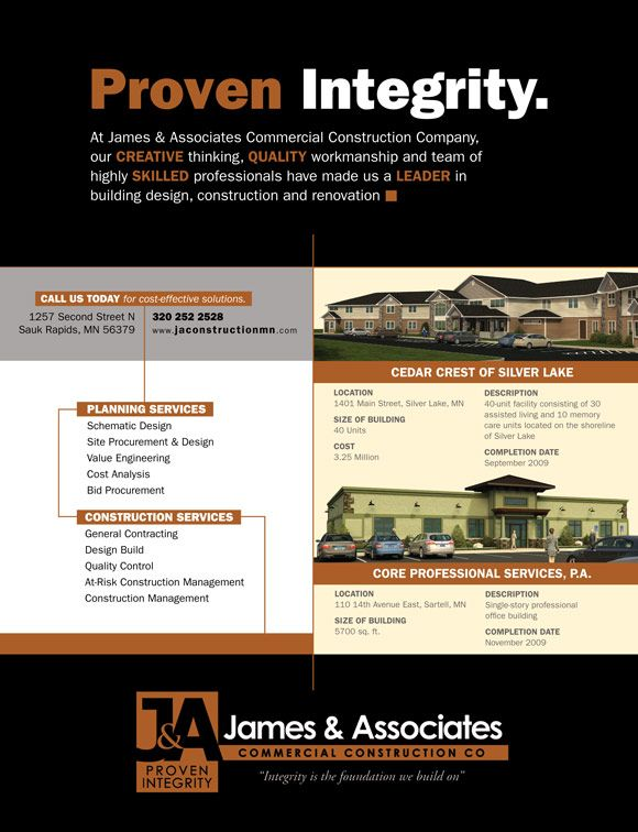 James And Associates Ad Commercial Construction Print Design Ads