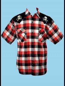 Steady® Mens Red Plaid Embroidered Short Sleeve Rockabilly Shirt