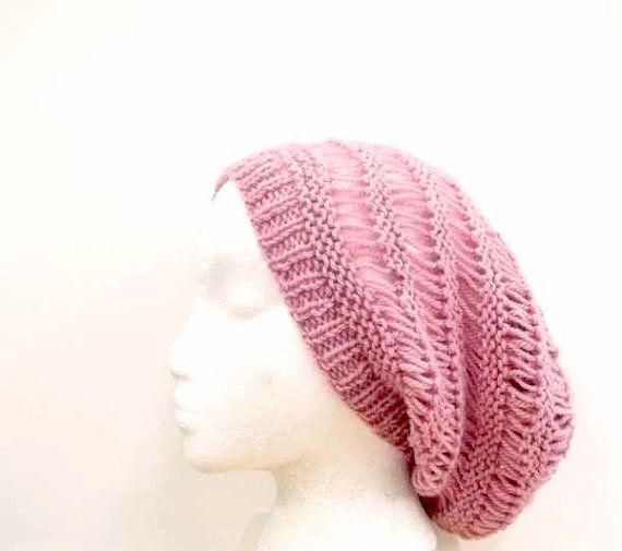 Knitted pink wool Beanie Beret open weave large by ...