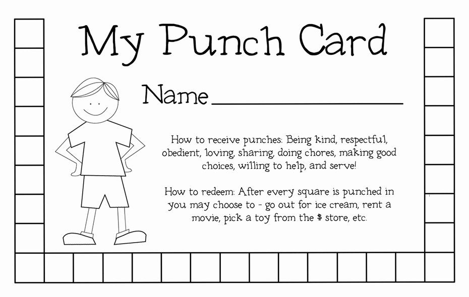 Punch Card Template Microsoft Word New Punch Card Template Punch Cards Behavior Punch Cards Loyalty Card Template