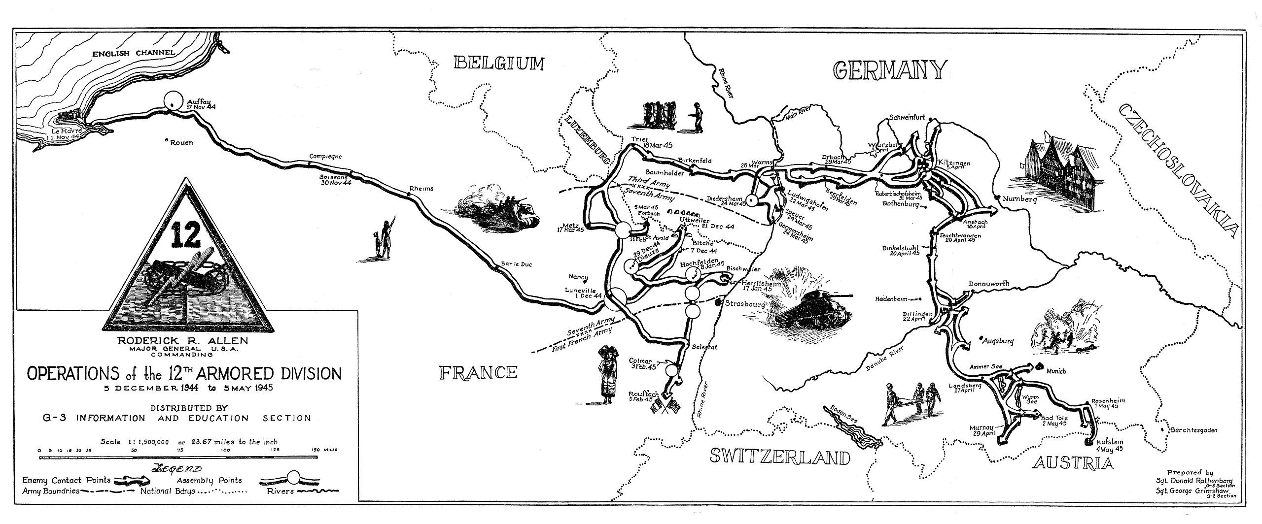 Th Armored Division Of The US Army Route And Campaign Map Of - Us army ww2 maps