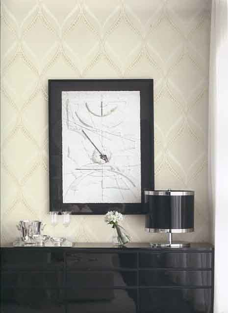 Ogee Wallpaper in Metallic and Ivory design by Seabrook Wallcoverings
