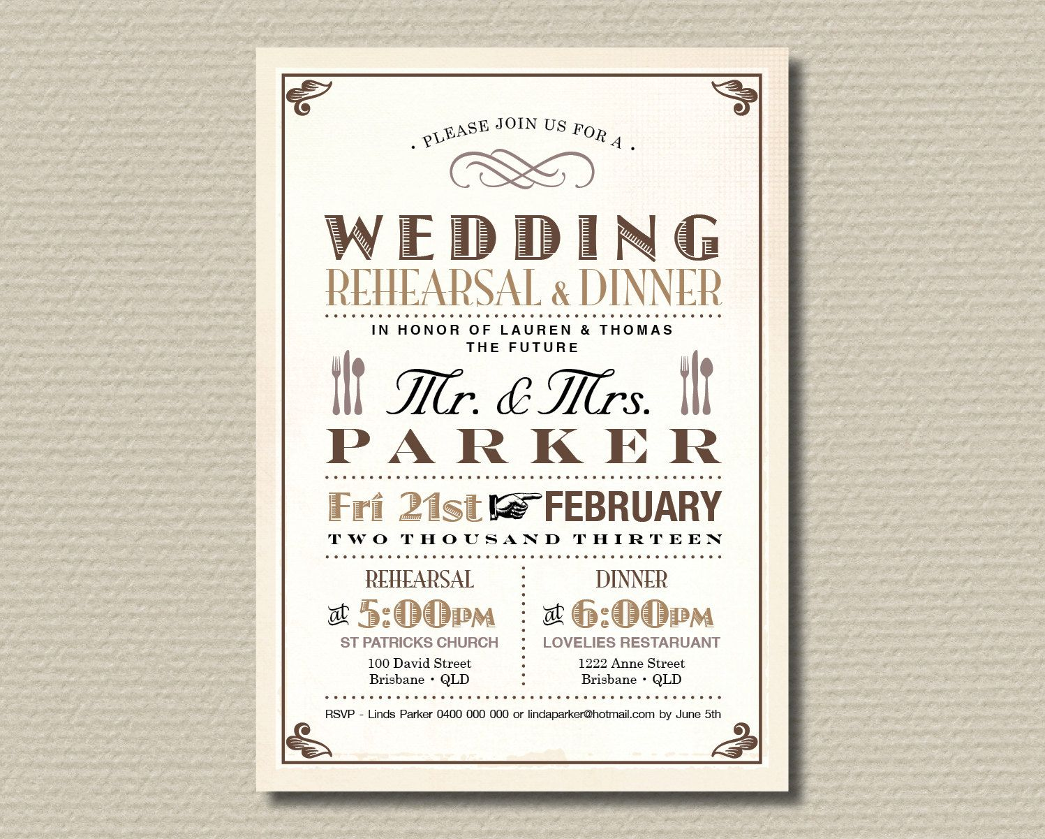 Printable Wedding Rehearsal Dinner Invitation Vintage Poster Design In Brown Tan Rustic RD13