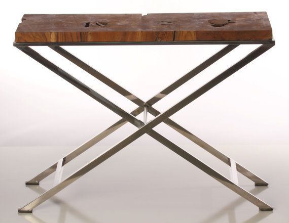 Thin Side Table narrow side table with chrome legs and reclaimed woodbaredecor