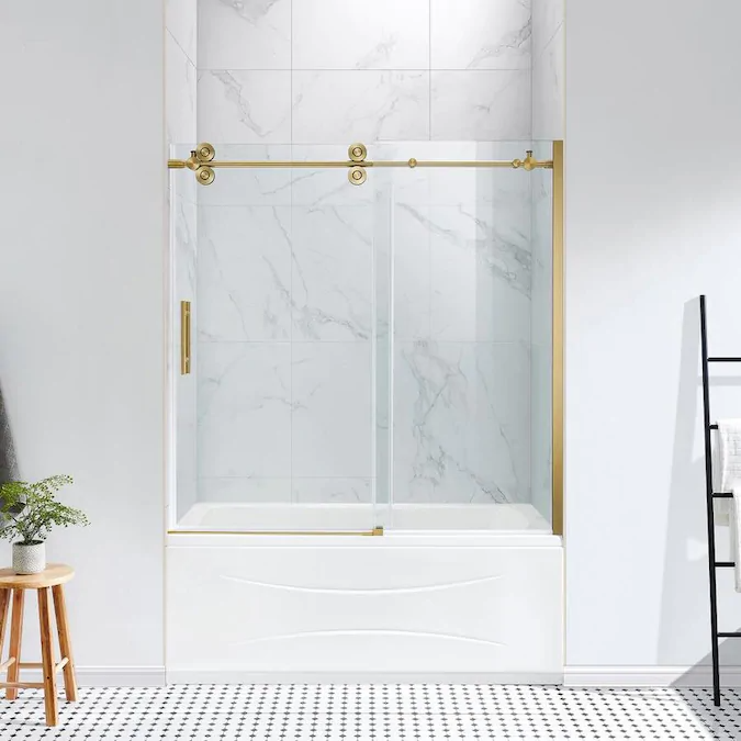 Ove Decors Sydney 59 In H X 58 25 In To 59 75 In W Frameless Bypass Sliding Gold Bathtub Door Clear Glass Lowes Com In 2020 Tub Doors Bathtub Doors Tub Shower Doors
