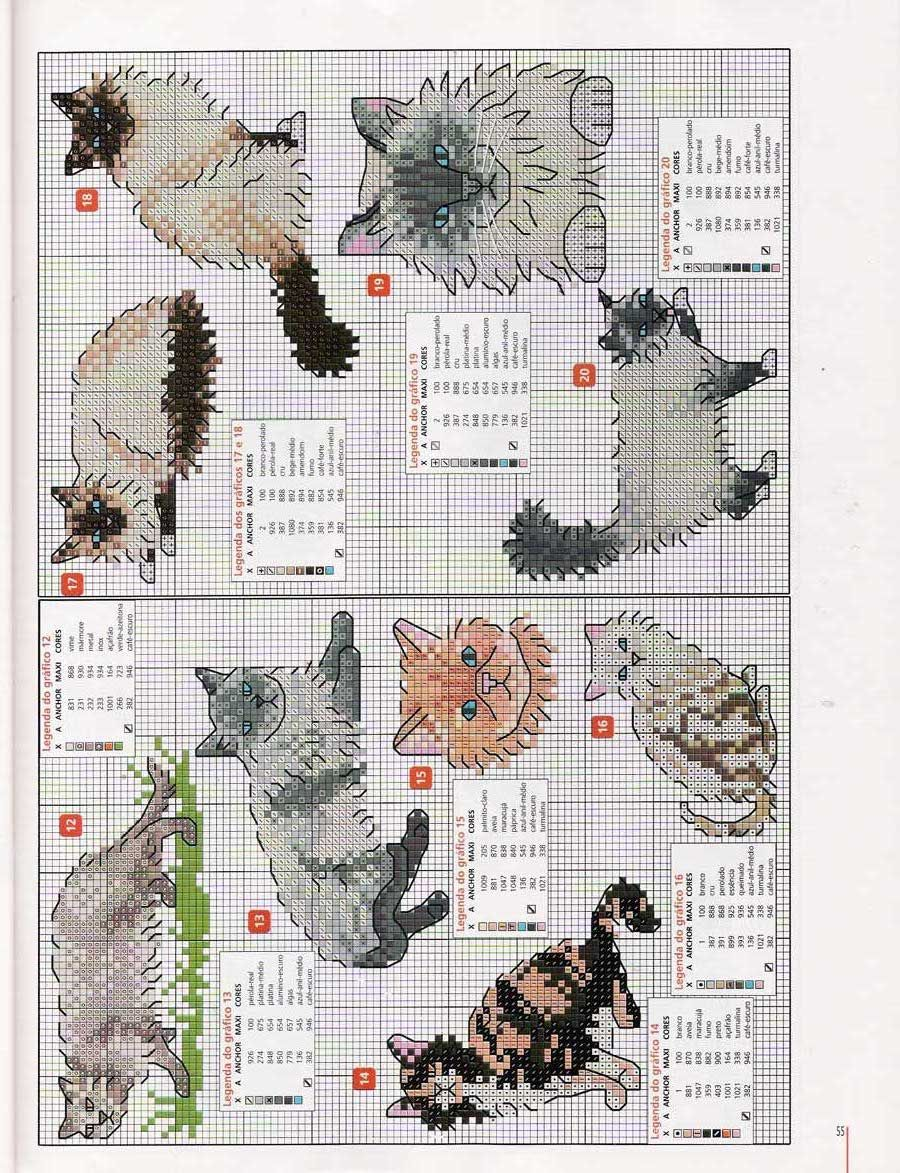 Cross Stitch Cats Узоры для вышивки крестиком, Вышивка