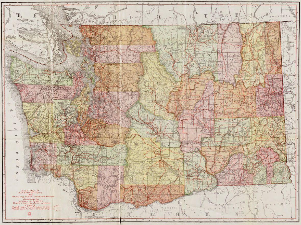 Washington State Highway Map 1912