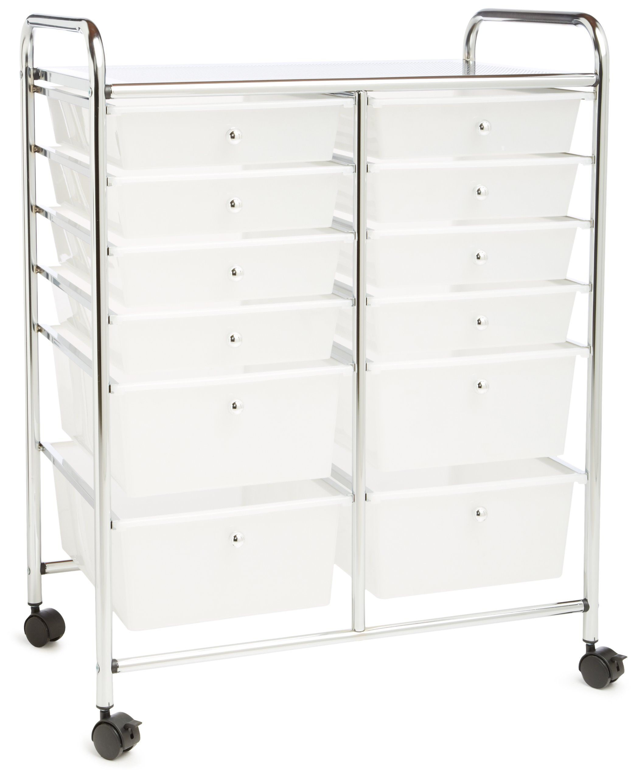 Honeycando Rolling Storage Cart And Organizer With 12 Plastic Drawers