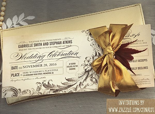 wedding ticket invitation with RSVP VINTAGE WEDDING INVITATIONS - invitation ticket