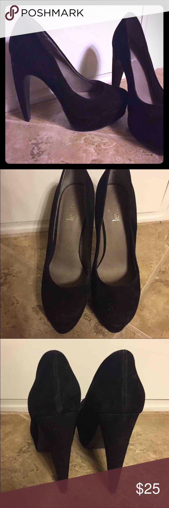 Size 7 Black stilettos 4.5 inch black velvet stilettos. Unique heal. Very cute. No visible signs of wear Shoes Heels
