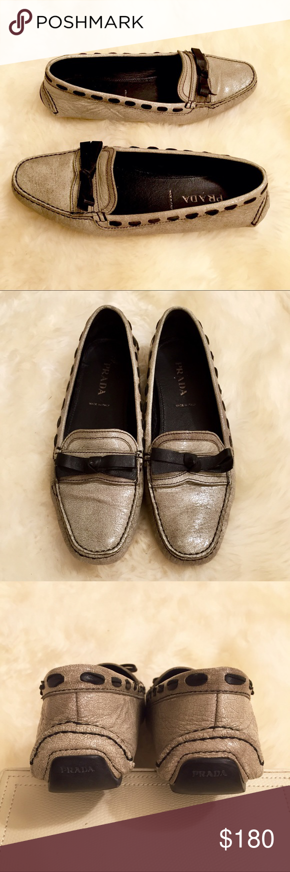 🆕Prada Leather Driving Moccasins 100% AUTHENTIC Prada light grey driving moccasins/loafers with black exposed leather stitching detail. Fits a size 7.5-8 and in FANTASTIC condition! Originally retailed for $650 ✨WILL SELL FOR LESS ON ♏️!!  💥ALL ITEMS ARE DESCRIBED AS ACCURATELY AS POSSIBLE & ALL SALES ARE FINAL. PLEASE ASK ALL QUESTIONS PRIOR TO PURCHASE, I WILL NOT BE HELD RESPONSIBLE FOR LOST OR DAMAGED PARCELS OR BUYERS DISSATISFACTION💥 Prada Shoes Flats & Loafers