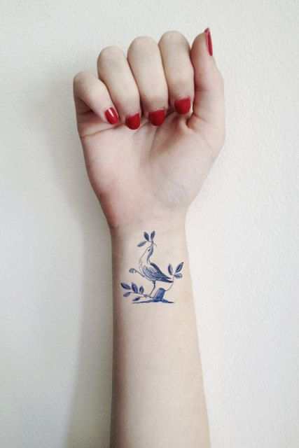 Delft Blue temporary tattoo / floral temporary tattoo / flower | Etsy
