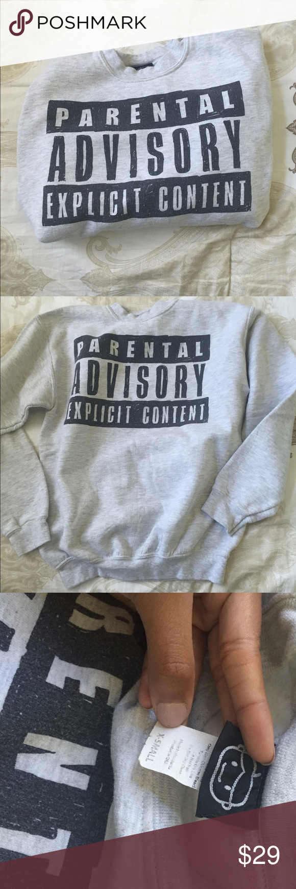 Parental Advisory Hoddie really cute crewneck, no hood. very stylish. no trades, no lowest! I'll accpet offers :) no flaws. hardly worn. heather grey and black. ordered online from urban outfitters Urban Outfitters Sweaters Crew & Scoop Necks
