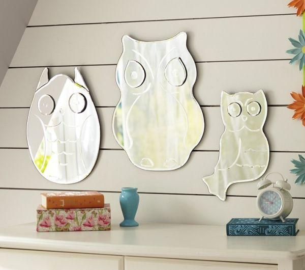 Wand Mit Spiegel Gestalten kinderzimmer spiegel wand design ideen eule form kinderzimmer
