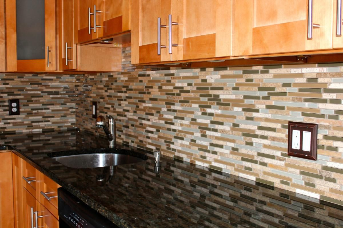 Glass And Stone Mosaic Backsplash Glass Tiles Kitchen Kitchen