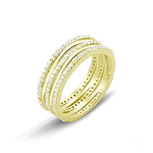 New 18k Gold Plated Silver Pave Cz Ring (8) >>> See this great product.