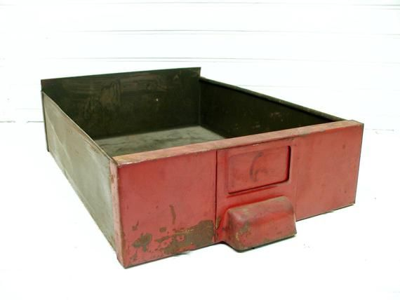 Industrial Metal Drawer from File Cabinet - Tin Drawer - Old