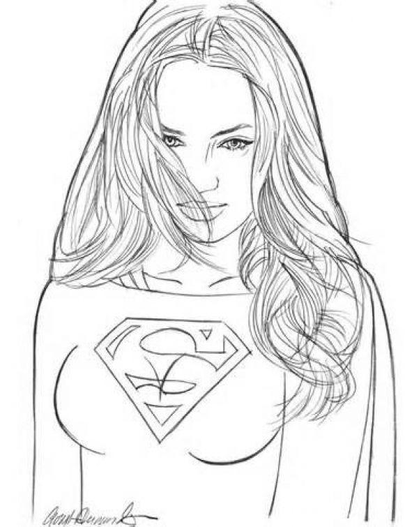 Beautiful Supergirl DC superheroes coloring sheet | Superheroes ...
