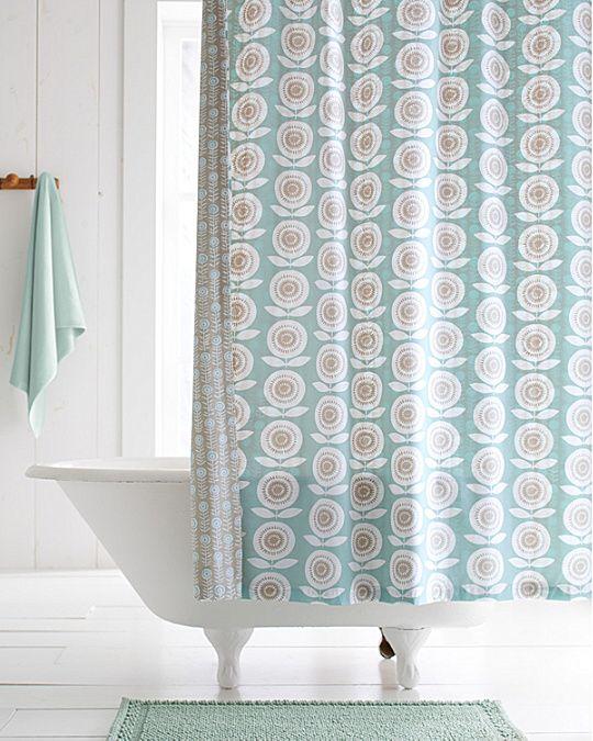 Mina Floral Organic Cotton Reversible Shower Curtain Fabric
