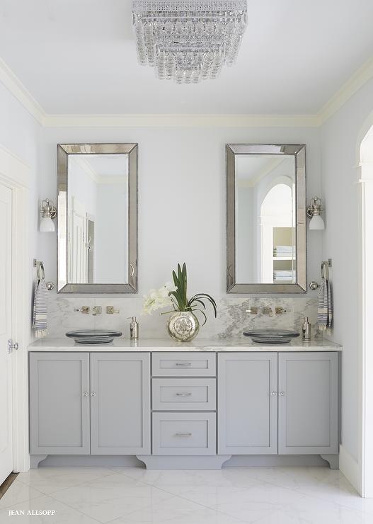 26 Gray Bathroom Ideas Worthy Of Your Experiments White Vanity Bathroom Farmhouse Bathroom Mirrors Bathrooms Remodel
