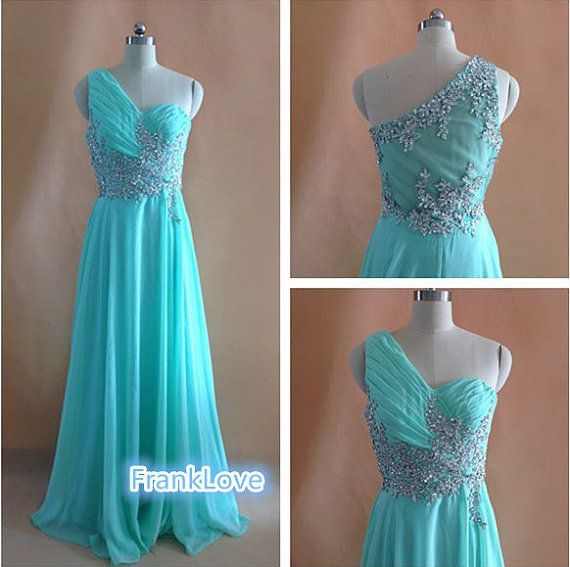 One Shoulder Long Beads Appliques Prom Dress Beading by FrankLove, $129.00